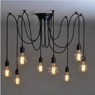 Lámpara araña 10 brazos cable de goma