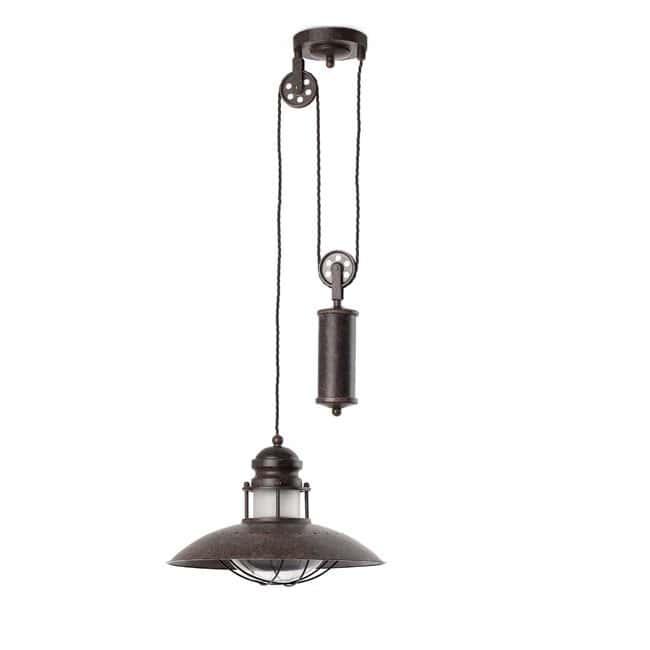 Lámpara rústica WINCH -polea-