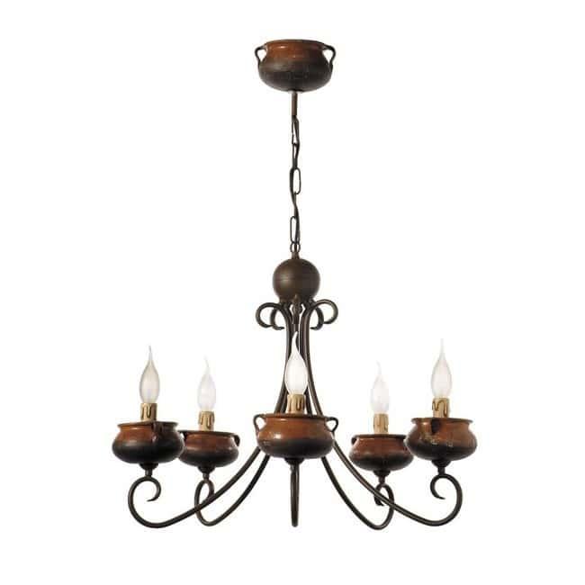 Lámpara artesana ollas (5 luces)