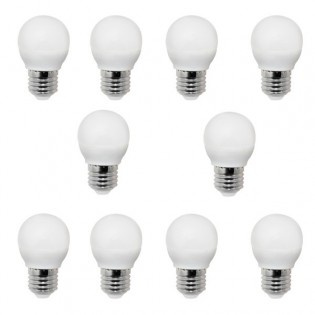 Pack 10 Bombillas LED Esférica E-27. 4W. 300Lm. Wonderlamp