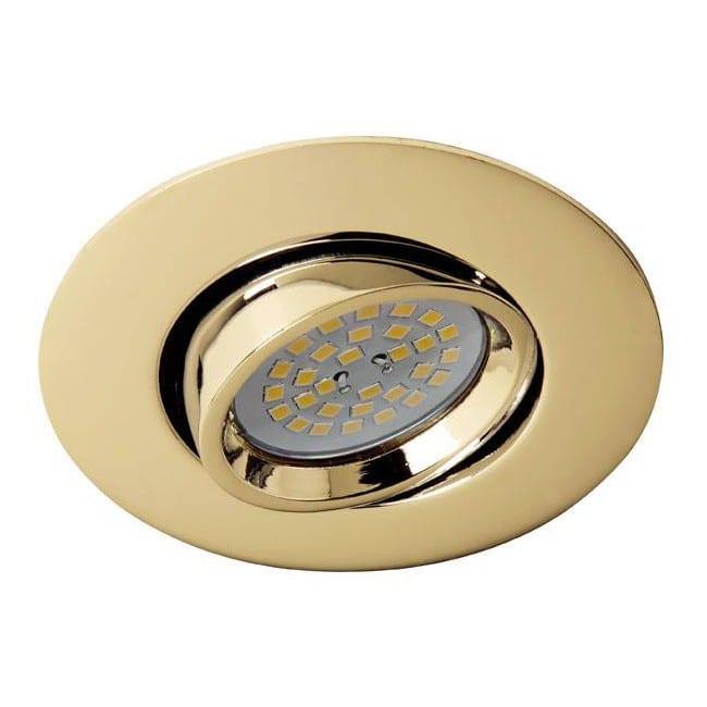 Terra - Kit de foco empotrable, basculante, portalmparas y bombilla, color oro