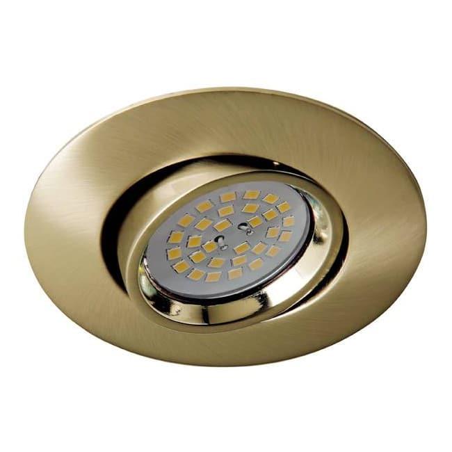 Terra - Kit de foco empotrable, basculante, portalmparas y bombilla, color oro viejo