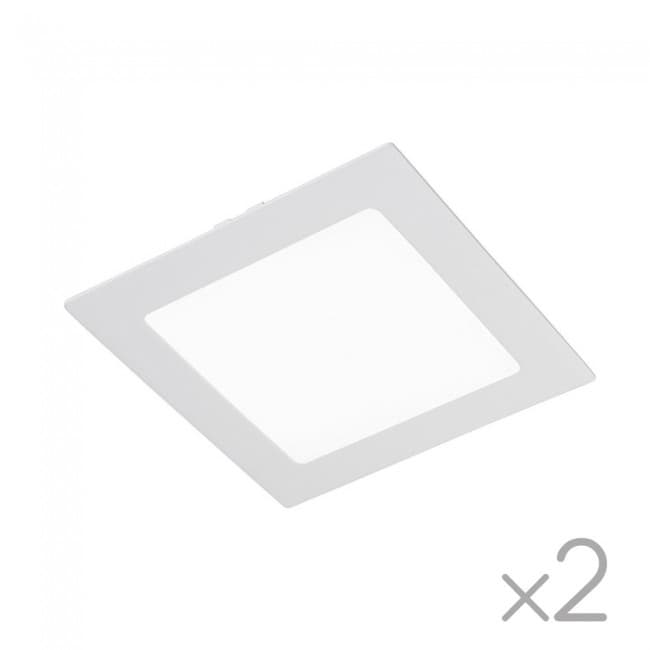 Pack 2 x Downlight LED cuadrado Extraplano 18W-6000ºK (blanco)