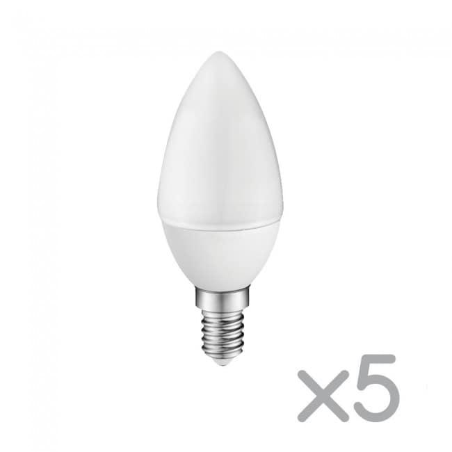 Pack 5 x Bombilla LED A2BC Vela E14 6W (luz cálida)