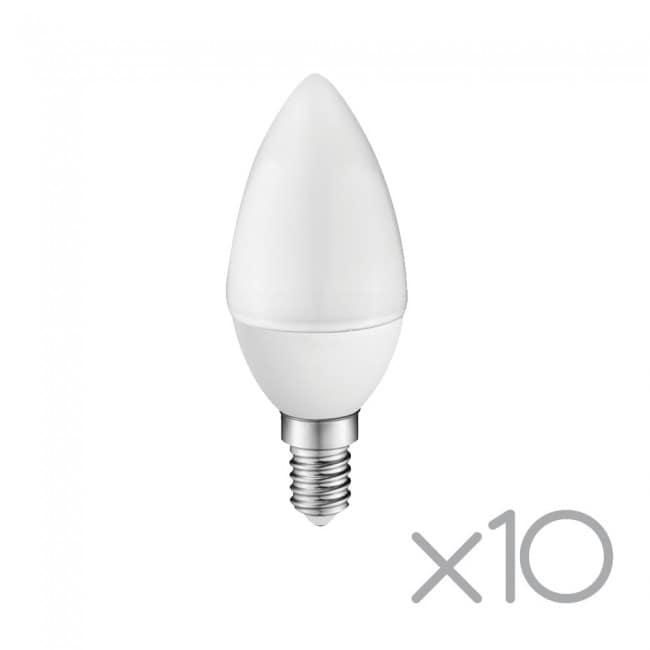 Pack 10 x Bombilla LED A2BC Vela E14 6W (luz fría)