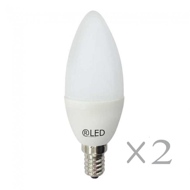 Pack 2 Bombillas LED Vela E14 (6W)