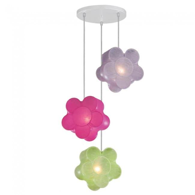 Lámpara colgante Flores (3 luces)