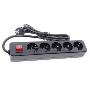 Base cinco tomas negro con interruptor