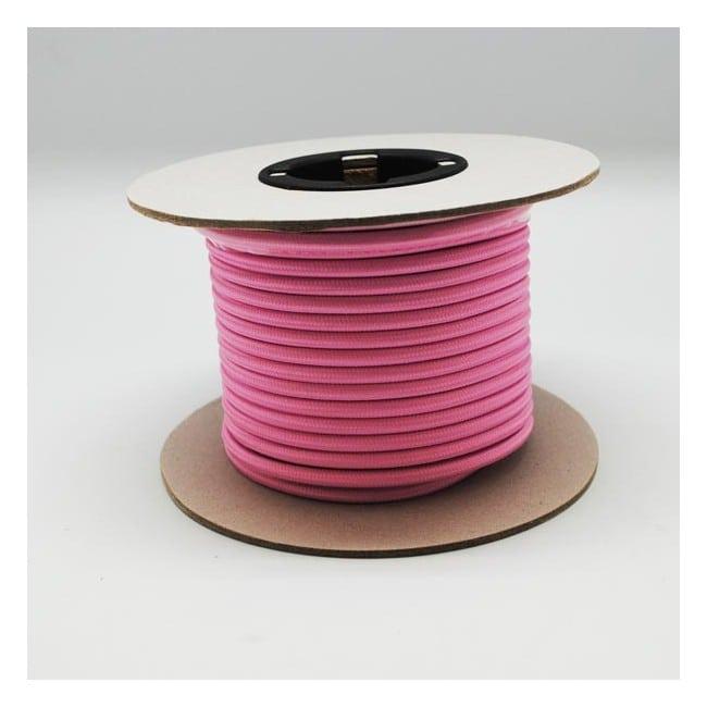 Rollo cable textil rosa