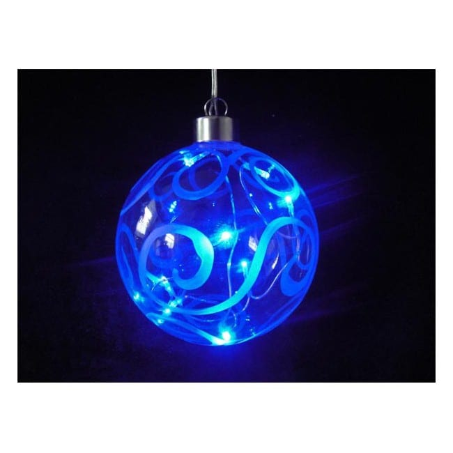 Bola de cristal azul con luz led iluminaci n navidad for Bolas de cristal decorativas