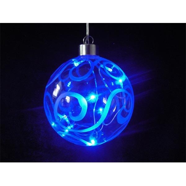 Bola de cristal azul con luz LED. Iluminación Navidad. Compra online.