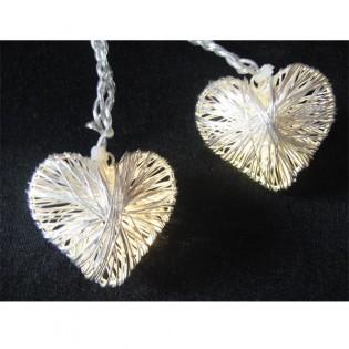 Guirnalda 10 corazones led plata