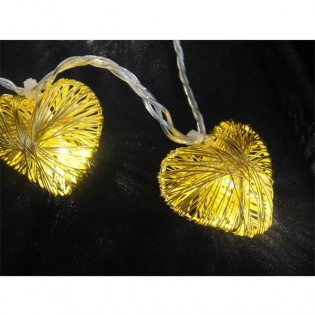 Guirnalda 10 corazones led oro