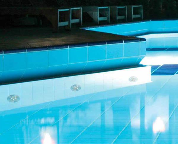 Recessed light swimming pool