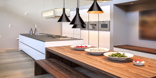 Lamps and downlights for kitchen