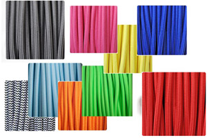 Coloured textile cable for lamps