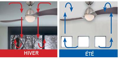 Ventilateur avec lumière et fonction été - hiver