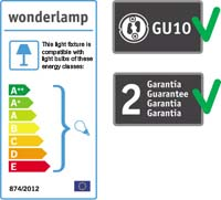 Wonderlamp recessed downlight with GU10 lampholder